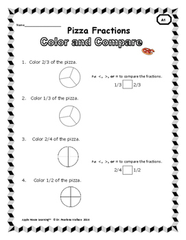 Pizza Fractions:  Comparing Fractions, Fraction Worksheets & Word Problems