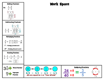 Fraction Place mat with Work Space (some using butterfly method)