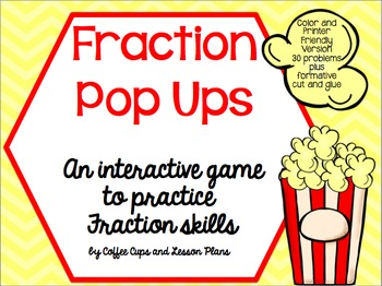Fraction Pop Ups Game- Interactive Practice: Add, Subtract & Simplify Fractions