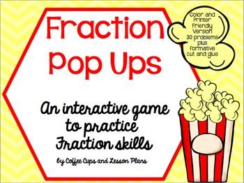 Fraction Pop Ups Game- Interactive Practice: Add, Subtract
