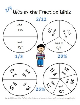 Math Posters: Equivalent Fractions to Percents with Wesley the Fraction Whiz