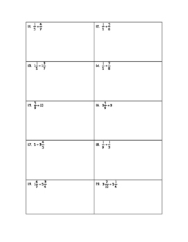 Fraction Practice- Multiplying and Dividing