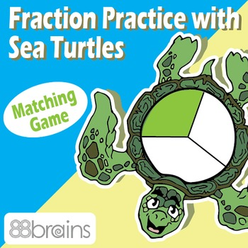 Fraction Practice with Sea Turtles: Equal Parts - File Folder Game (Common Core)