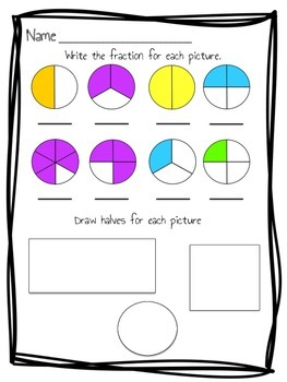 fraction practice assessment 2nd grade ccss by just add glitter