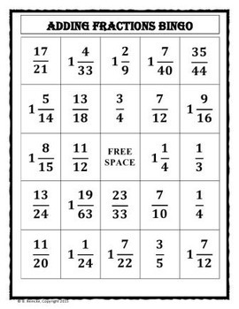 Fraction Pre-Made Bingo Games Package (15 in all!)