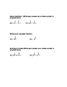 Fraction Pre Test