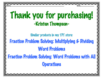 Fraction Problem Solving: Adding & Subtracting Word Problems