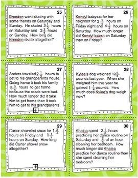 Fraction Problem Solving Task Cards