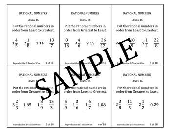 Rational Number Problem Solving Task Cards: Level 16 Compare  & Order