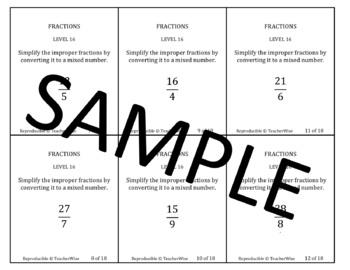 Rational Number Problem Solving Task Cards: Level 18 Convert Improper Fractions