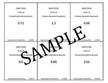Rational Number Problem Solving Task Cards: Level 20 Convert Decimals to Percent