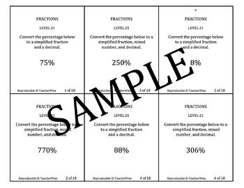 Rational Number Problem Solving Task Cards: Level 21 Convert Percent
