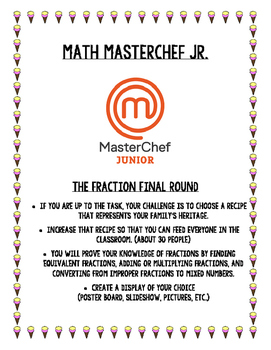 Fraction Project with Rubric - MasterChef Jr.- Project Bas