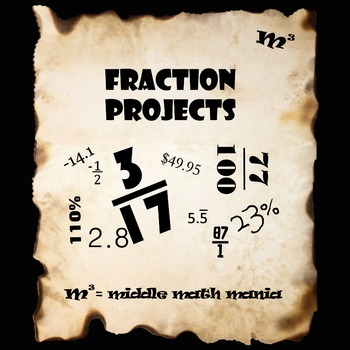 Fraction Projects for 6th, 7th & 8th Grade