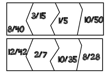 Fraction Puzzle Freebie matching equivalent fractions