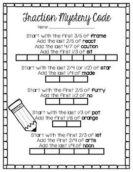 Fraction Mystery Code