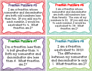 Fraction Puzzlers Challenge Task Cards