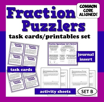 Fraction Puzzlers - fraction story problems task cards + printables (set b)