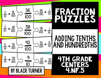 Fraction Puzzles: 4th Grade Math Centers 4.NF.5