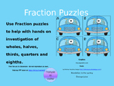 Fraction Puzzles - Blue Monster in a Car
