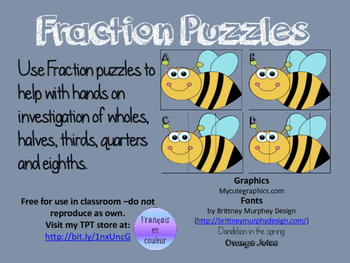 Fraction Puzzles - Bumble Bee