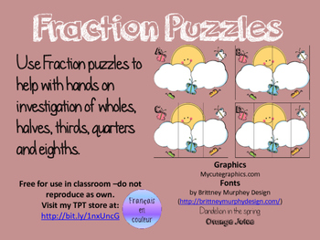 Fraction Puzzles - Butterfly's on a Sunny Day