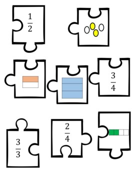 Fraction Puzzles for Thirds, Fourths, and Halves