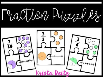 Fraction Puzzles {includes fractions up to tenths}