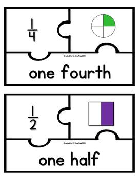 Fraction Puzzles: whole, 1/2, 1/3, 1/4