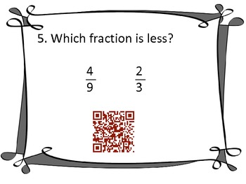 Fraction QR Codes-greater or less