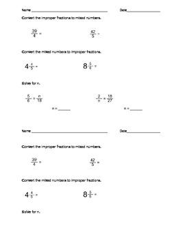 Fraction Quiz - Improper, Mixed, and Equivalent