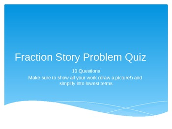 Fraction Quiz - Multiplication - Powerpoint