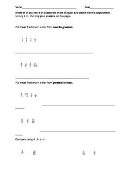 Fraction Quiz - Ordering, Comparing, Adding