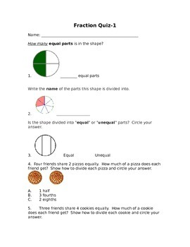 Fraction Quiz Pack- CCSS aligned 3.NF.A1, 3.NF.A2, 3.NF.A3