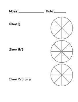 Fraction Quizzes/Worksheets Print and Go