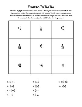 Fraction REVIEW TicTacToe Gameboard