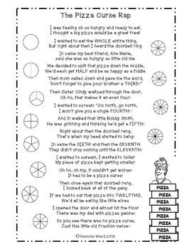 math worksheet : fraction rap the pizza curse by ramona ward  teachers pay teachers : Fraction Rap