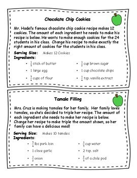 Fraction Recipe Word Problems