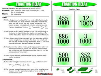 Fraction Relay: Proper Fractions Games