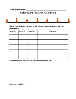 Fraction Relay Race - Decomposing Fractions