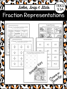Fraction Representations: Solve, Snip & Stick: TEKS 3.3A