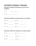 Common Core Fraction Review  (Chapter 7 Go Math series) 4th grade