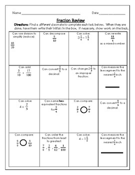 4th Grade Fraction Review Activity