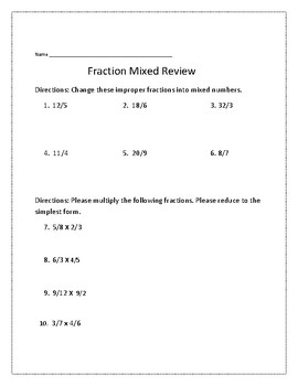 Fraction Review Addtion, Subtraction, and Multiplication