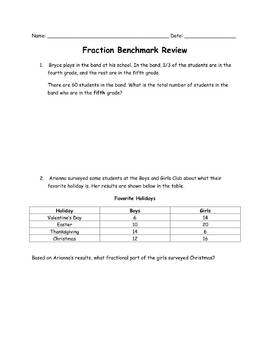Fraction Review: Common Core Aligned Word Problems