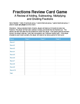Fraction Review Game