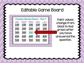 Fraction Review Game Part 1 - Similar to Jeopardy