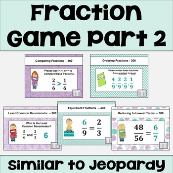 Fraction Review Game 2 Similar to Jeopardy