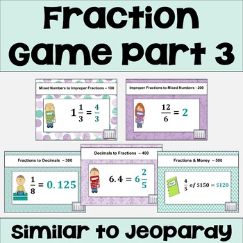 Fraction Review Game Part 3 - Similar to Jeopardy