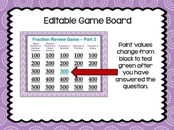 Fraction Review Game 3 Similar to Jeopardy